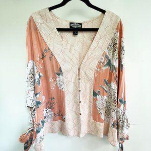 Oliver Peach Floral Kimono Floral Top XL
